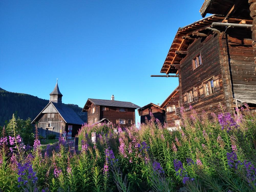 Typerende architectuur van de Walser in Obermutten